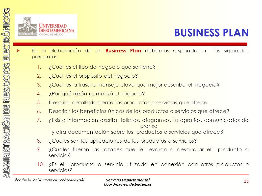 Servicio Departamental Coordinación de Sistemas 13 BUSINESS PLAN En la elaboración de un Business Plan debemos responder a las siguientes preguntas: 1