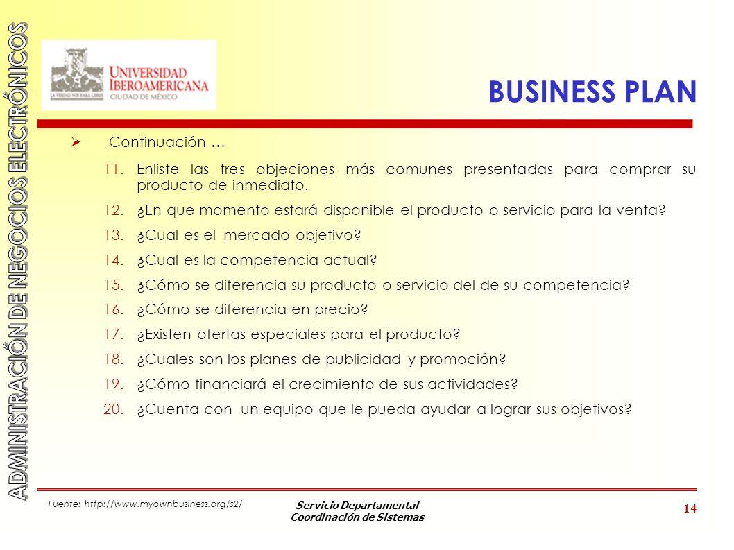 Servicio Departamental Coordinación de Sistemas 14 BUSINESS PLAN Continuación … 11.Enliste las tres objeciones más comunes presentadas para comprar su