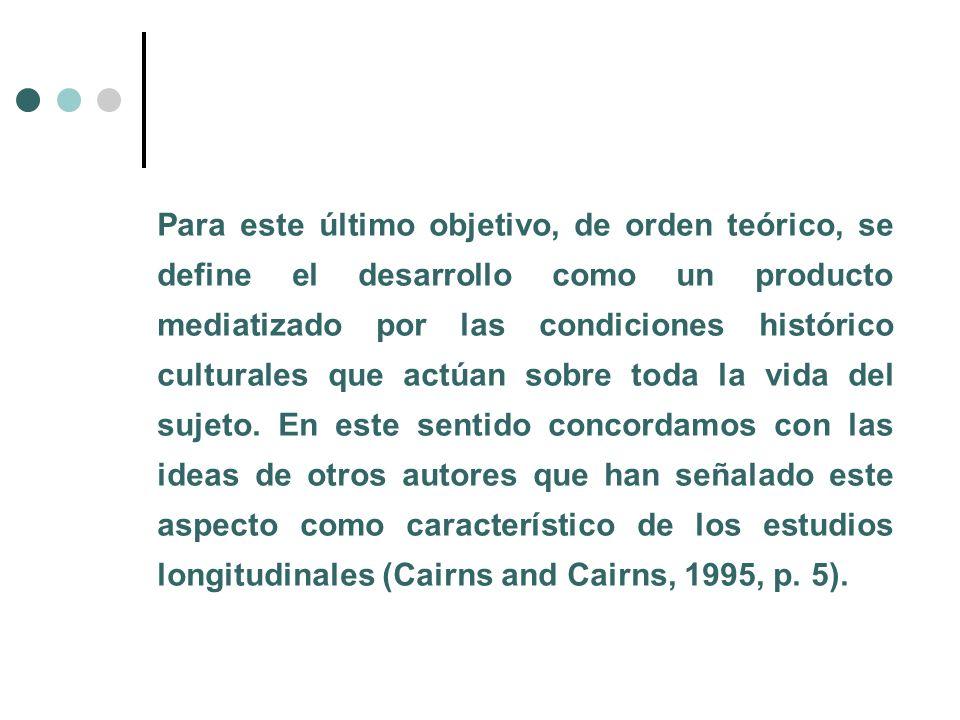 Para este último objetivo, de orden teórico, se define el desarrollo como un producto mediatizado por las condiciones histórico culturales que actúan