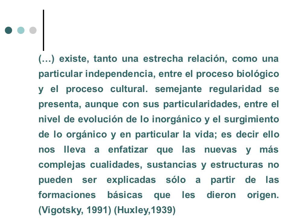 (…) existe, tanto una estrecha relación, como una particular independencia, entre el proceso biológico y el proceso cultural. semejante regularidad se
