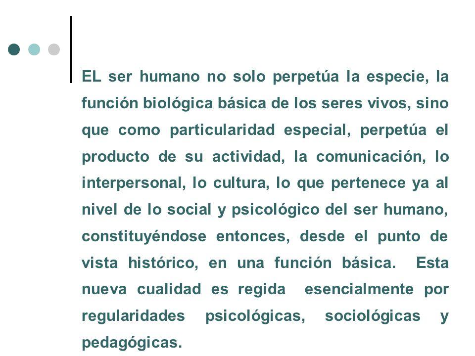 EL ser humano no solo perpetúa la especie, la función biológica básica de los seres vivos, sino que como particularidad especial, perpetúa el producto
