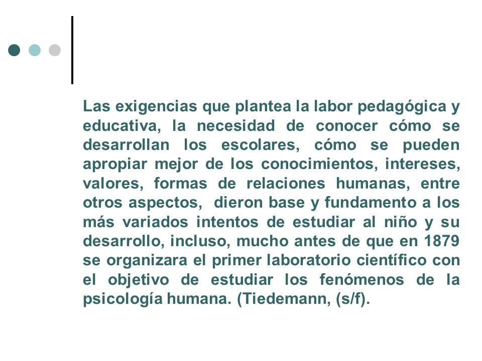 Las exigencias que plantea la labor pedagógica y educativa, la necesidad de conocer cómo se desarrollan los escolares, cómo se pueden apropiar mejor d