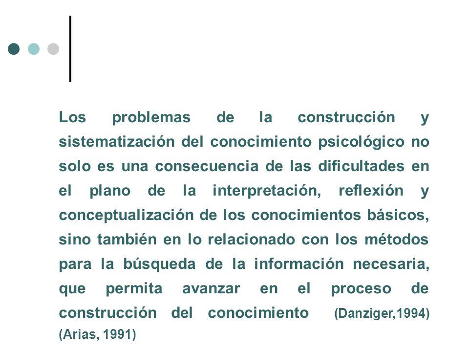 Los problemas de la construcción y sistematización del conocimiento psicológico no solo es una consecuencia de las dificultades en el plano de la inte