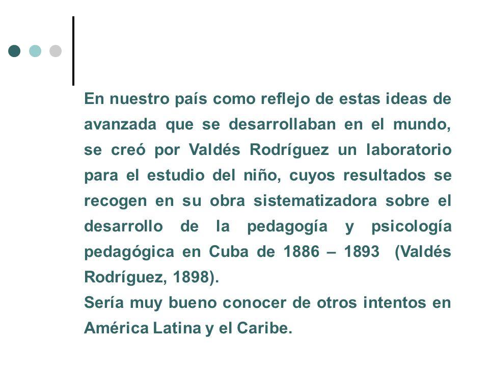 En nuestro país como reflejo de estas ideas de avanzada que se desarrollaban en el mundo, se creó por Valdés Rodríguez un laboratorio para el estudio