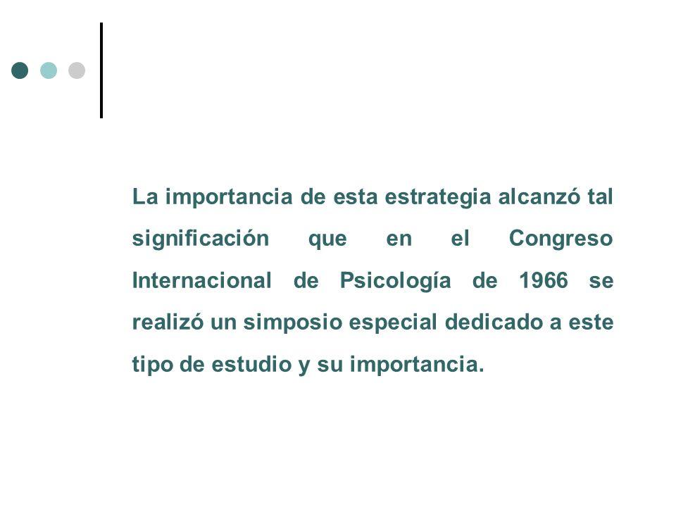 La importancia de esta estrategia alcanzó tal significación que en el Congreso Internacional de Psicología de 1966 se realizó un simposio especial ded