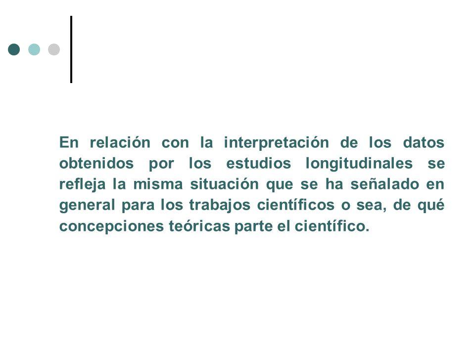 En relación con la interpretación de los datos obtenidos por los estudios longitudinales se refleja la misma situación que se ha señalado en general p
