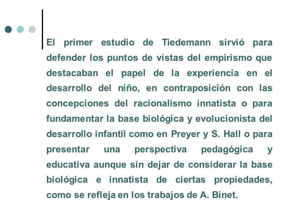 El primer estudio de Tiedemann sirvió para defender los puntos de vistas del empirismo que destacaban el papel de la experiencia en el desarrollo del