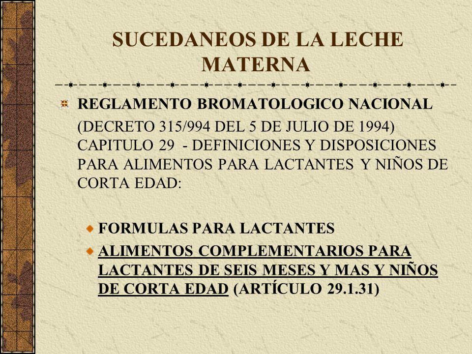 SUCEDANEOS DE LA LECHE MATERNA REGLAMENTO BROMATOLOGICO NACIONAL (DECRETO 315/994 DEL 5 DE JULIO DE 1994) CAPITULO 29 - DEFINICIONES Y DISPOSICIONES P