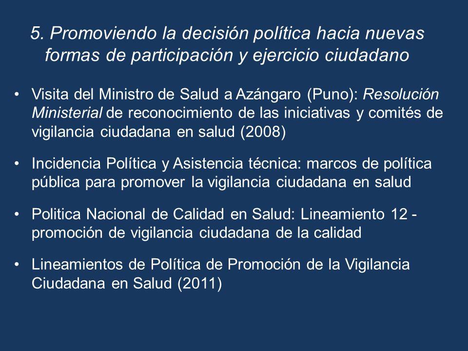 Visita del Ministro de Salud a Azángaro (Puno): Resolución Ministerial de reconocimiento de las iniciativas y comités de vigilancia ciudadana en salud