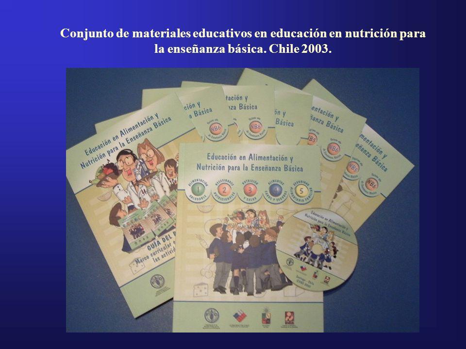 Conjunto de materiales educativos en educación en nutrición para la enseñanza básica. Chile 2003.