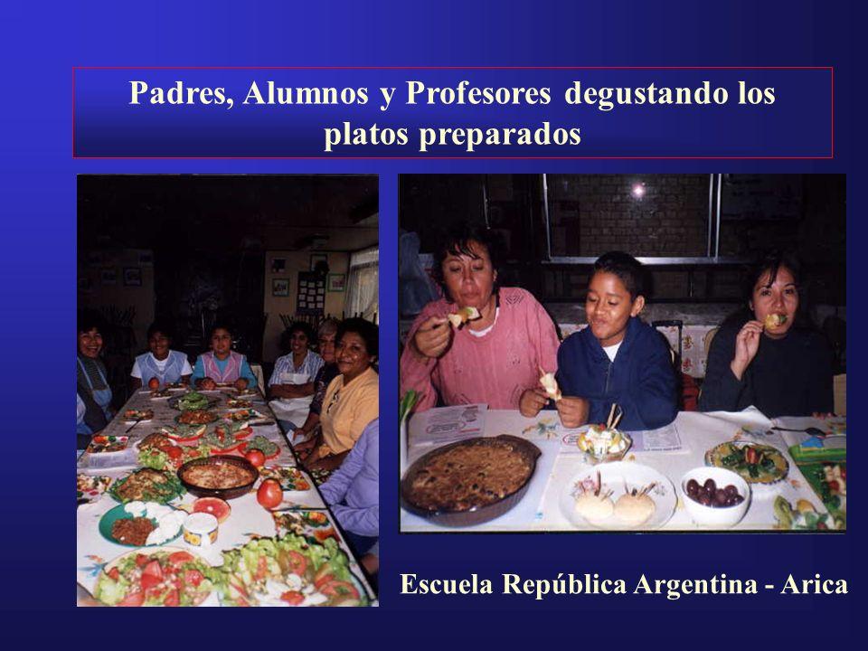 Padres, Alumnos y Profesores degustando los platos preparados Escuela República Argentina - Arica