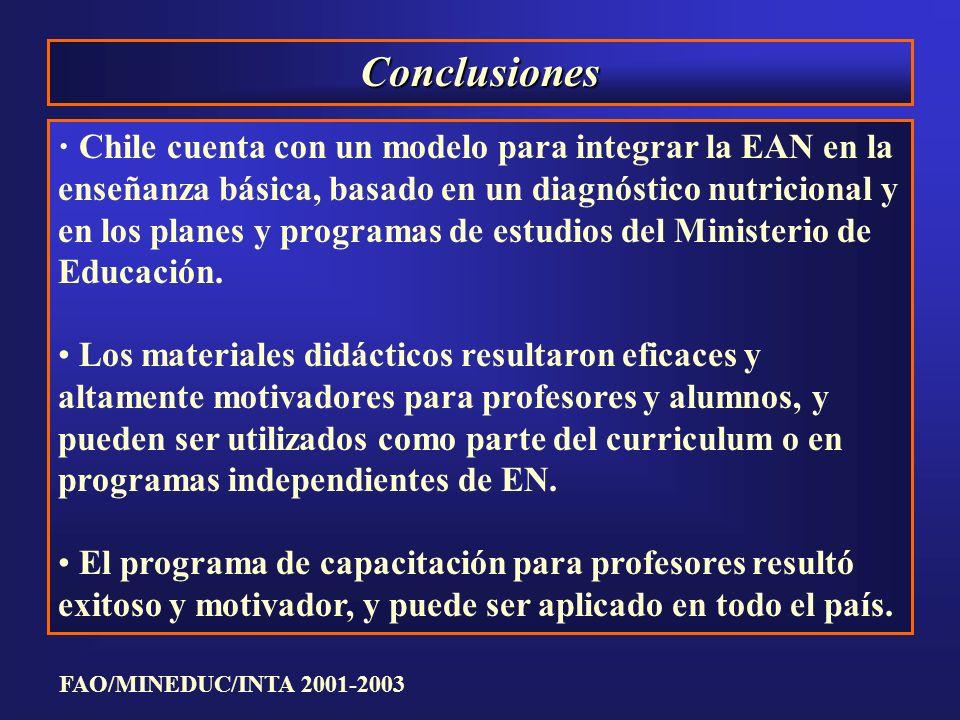 Conclusiones Chile cuenta con un modelo para integrar la EAN en la enseñanza básica, basado en un diagnóstico nutricional y en los planes y programas