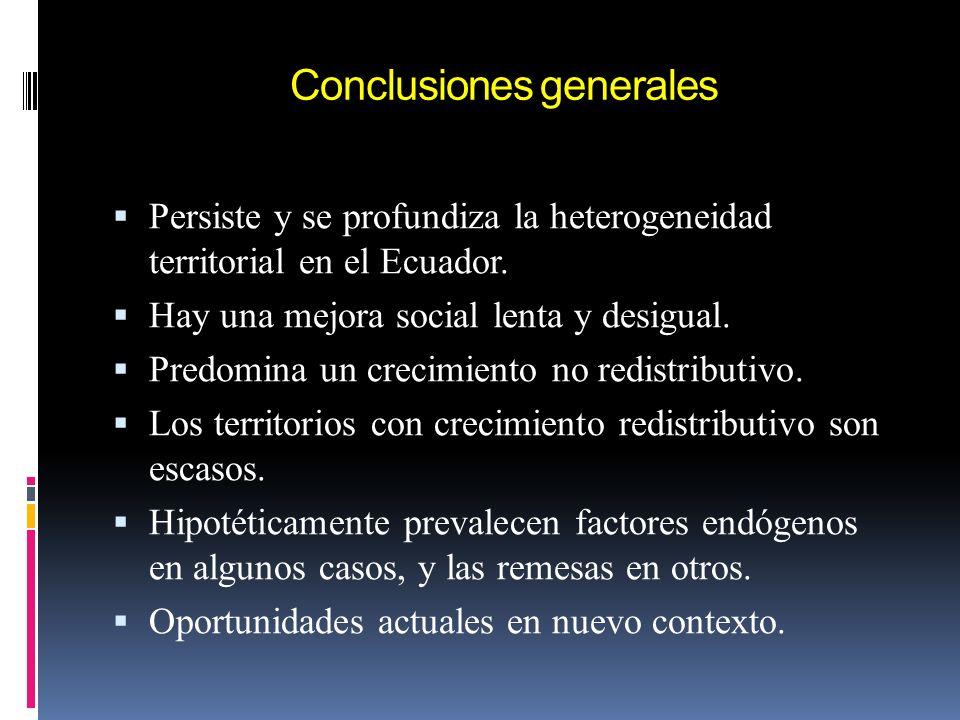 Conclusiones generales Persiste y se profundiza la heterogeneidad territorial en el Ecuador. Hay una mejora social lenta y desigual. Predomina un crec