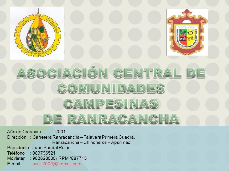 Año de Creación : 2001 Dirección: Carretera Ranracancha – Talavera Primera Cuadra. Ranracancha – Chincheros – Apurimac Presidente : Juan Pandal Rojas