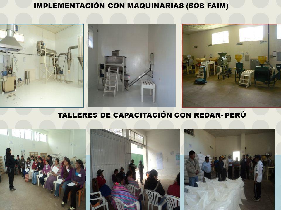 IMPLEMENTACIÓN CON MAQUINARIAS (SOS FAIM) TALLERES DE CAPACITACIÓN CON REDAR- PERÚ