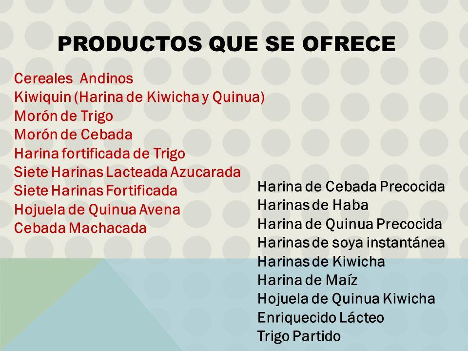 Cereales Andinos Kiwiquin (Harina de Kiwicha y Quinua) Morón de Trigo Morón de Cebada Harina fortificada de Trigo Siete Harinas Lacteada Azucarada Sie
