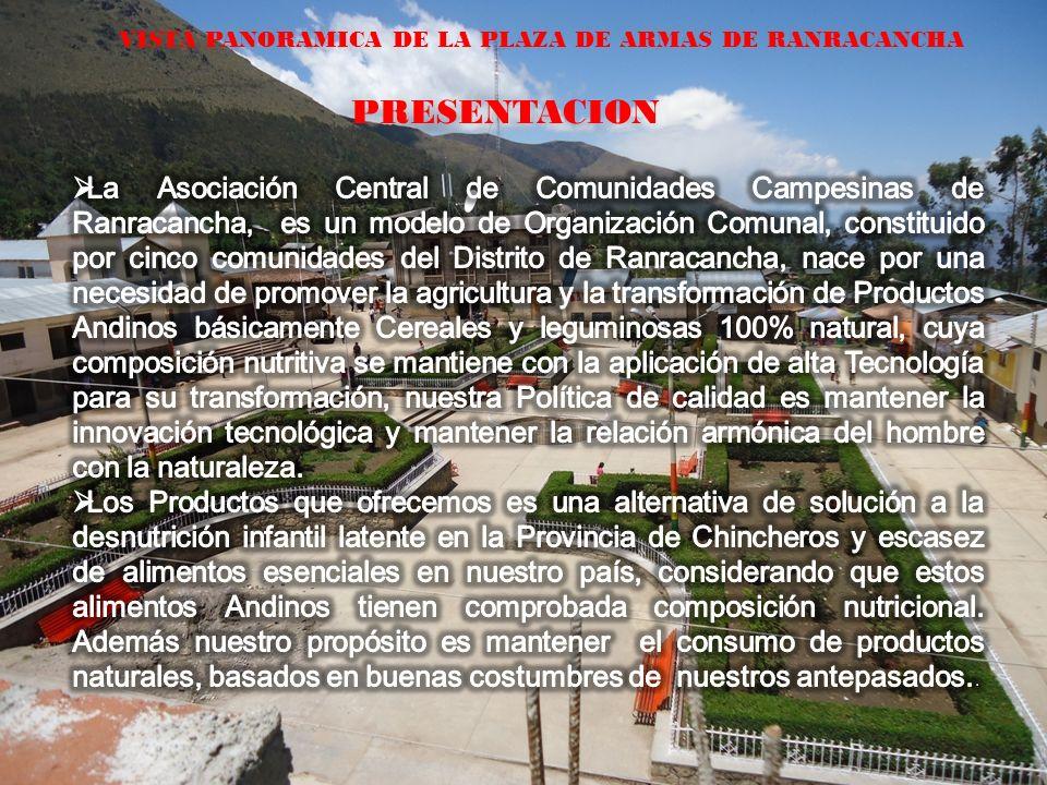 VISTA PANORAMICA DE LA PLAZA DE ARMAS DE RANRACANCHA PRESENTACION