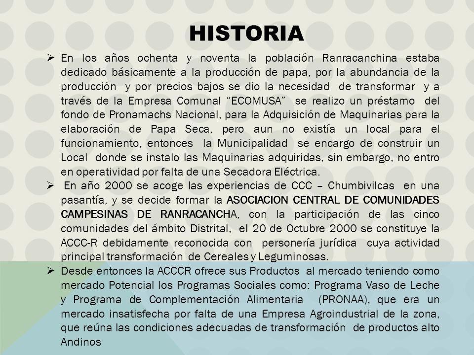 En los años ochenta y noventa la población Ranracanchina estaba dedicado básicamente a la producción de papa, por la abundancia de la producción y por