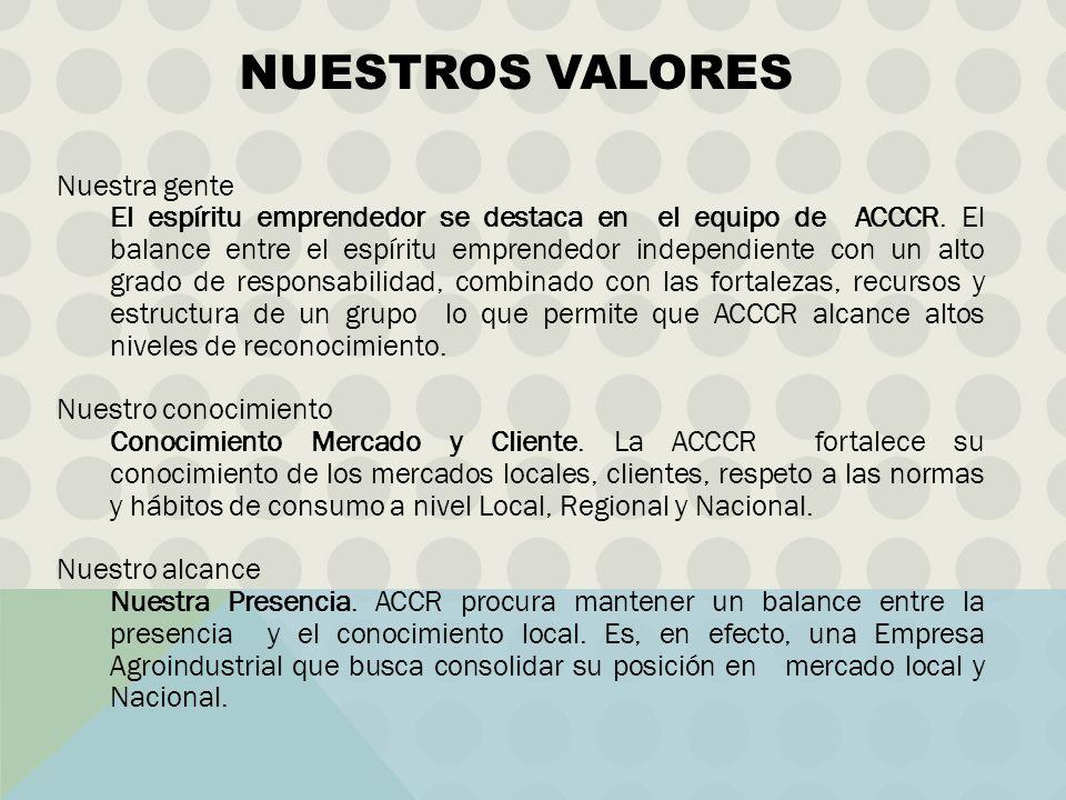 Nuestra gente El espíritu emprendedor se destaca en el equipo de ACCCR. El balance entre el espíritu emprendedor independiente con un alto grado de re
