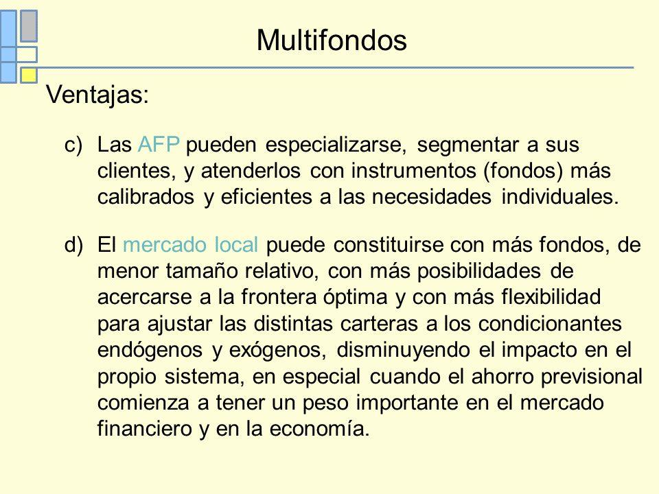 Multifondos Ventajas: c)Las AFP pueden especializarse, segmentar a sus clientes, y atenderlos con instrumentos (fondos) más calibrados y eficientes a las necesidades individuales.