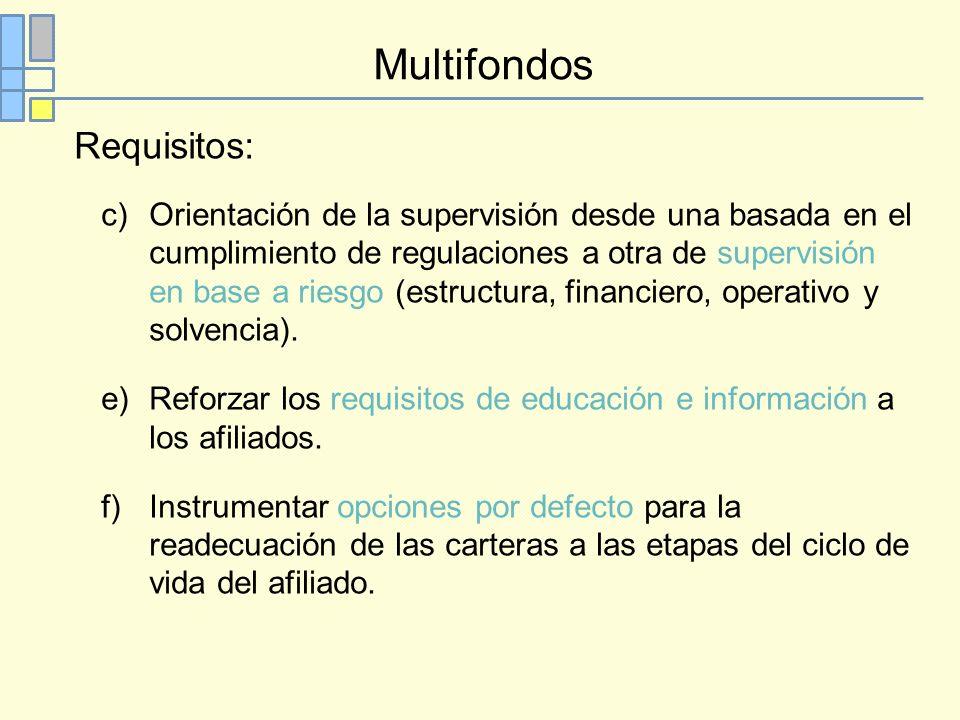 Multifondos Requisitos: c)Orientación de la supervisión desde una basada en el cumplimiento de regulaciones a otra de supervisión en base a riesgo (estructura, financiero, operativo y solvencia).