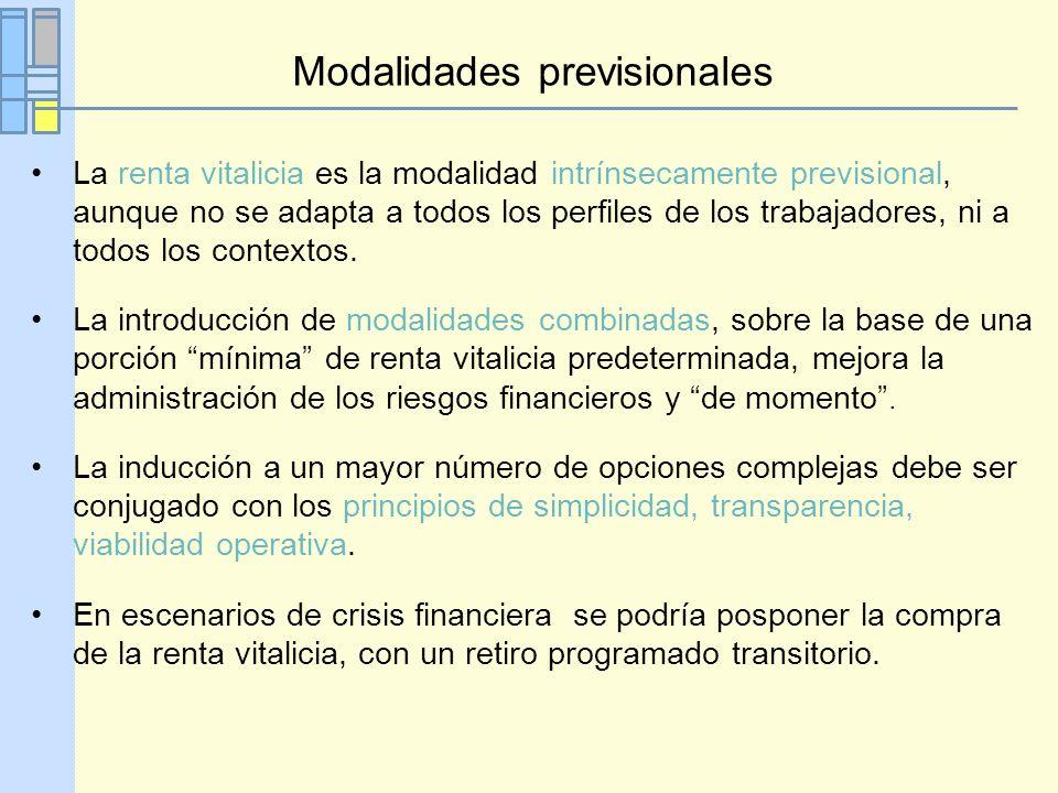 Modalidades previsionales La renta vitalicia es la modalidad intrínsecamente previsional, aunque no se adapta a todos los perfiles de los trabajadores, ni a todos los contextos.