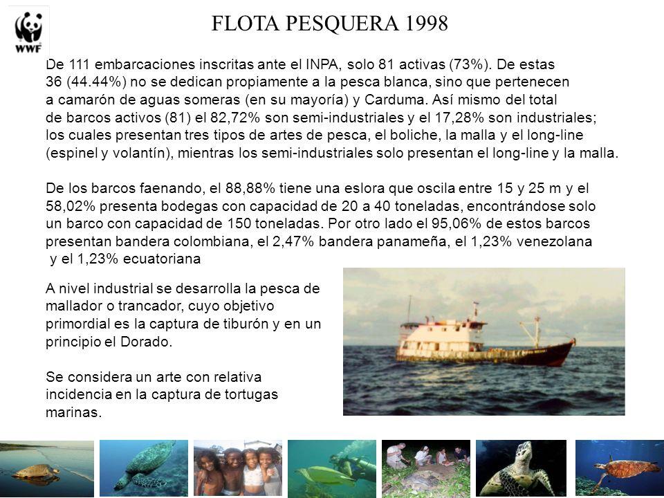FLOTA PESQUERA 1998 De 111 embarcaciones inscritas ante el INPA, solo 81 activas (73%).