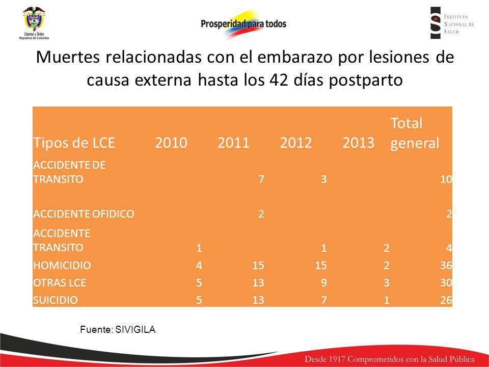 Tipos de LCE2010201120122013 Total general ACCIDENTE DE TRANSITO7310 ACCIDENTE OFIDICO22 ACCIDENTE TRANSITO1124 HOMICIDIO415 236 OTRAS LCE5139330 SUIC