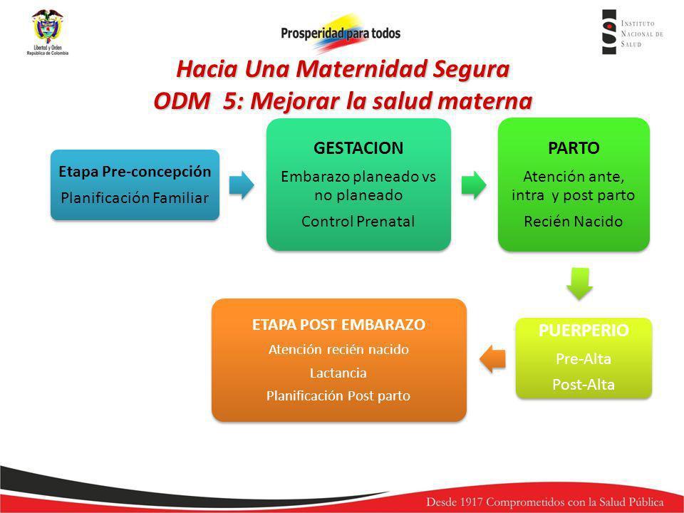 Determinantes de Salud Periodo Pre- gestación Acceso Calidad de servicios Embarazo y Parto Cobertura Acceso Calidad de servicios Periodo Post- parto MORTALIDAD MATERNA MORBILIDAD MATERNA EXTREMA COBERTURA DE ACCIONES DE PREVENCION MORTALIDAD PERINATAL E INFANTIL Hacia Una Maternidad Segura ODM 5: Mejorar la salud materna