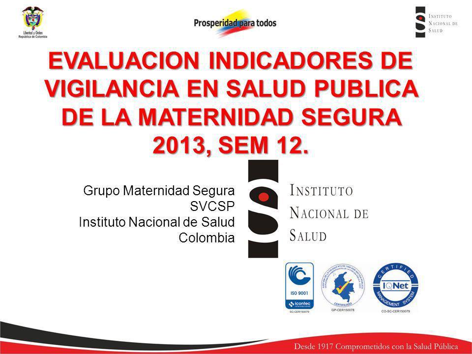 Grupo Maternidad Segura SVCSP Instituto Nacional de Salud Colombia EVALUACION INDICADORES DE VIGILANCIA EN SALUD PUBLICA DE LA MATERNIDAD SEGURA 2013,
