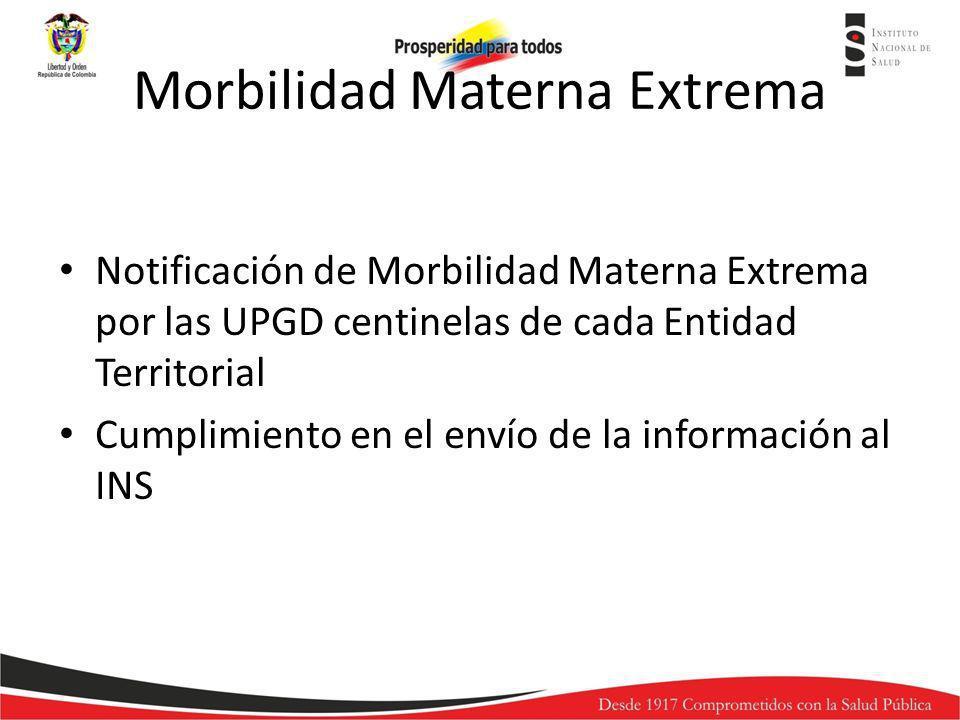 Morbilidad Materna Extrema Notificación de Morbilidad Materna Extrema por las UPGD centinelas de cada Entidad Territorial Cumplimiento en el envío de