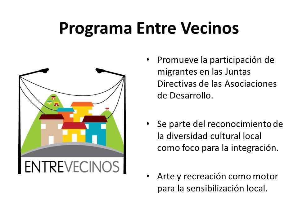 Programa Entre Vecinos Promueve la participación de migrantes en las Juntas Directivas de las Asociaciones de Desarrollo. Se parte del reconocimiento