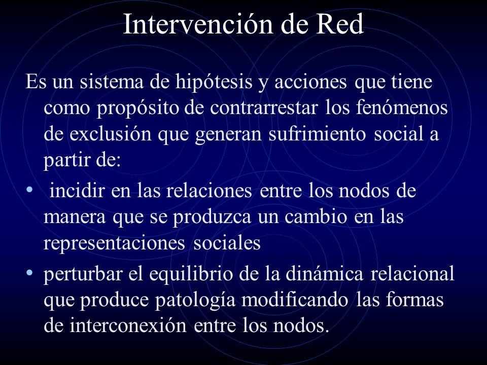Intervención de Red Es un sistema de hipótesis y acciones que tiene como propósito de contrarrestar los fenómenos de exclusión que generan sufrimiento