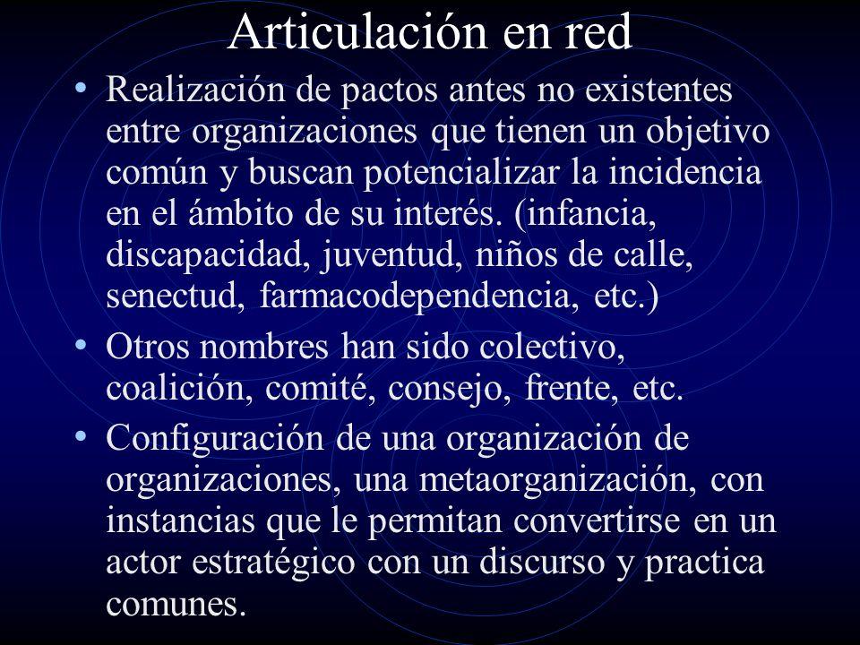 Articulación en red Realización de pactos antes no existentes entre organizaciones que tienen un objetivo común y buscan potencializar la incidencia e