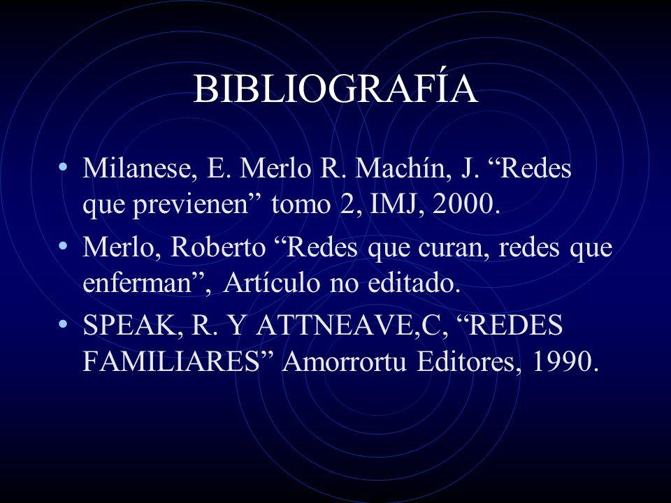 BIBLIOGRAFÍA Milanese, E. Merlo R. Machín, J. Redes que previenen tomo 2, IMJ, 2000. Merlo, Roberto Redes que curan, redes que enferman, Artículo no e