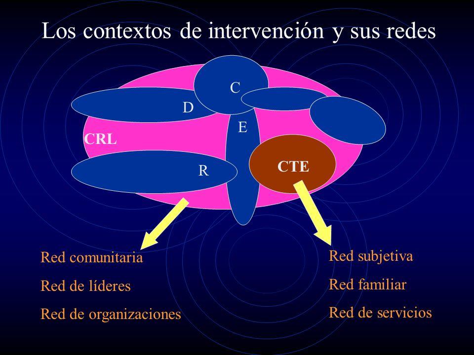 Los contextos de intervención y sus redes CRL CTE D R E C Red comunitaria Red de líderes Red de organizaciones Red subjetiva Red familiar Red de servi