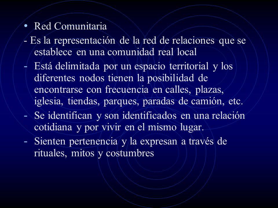 Red Comunitaria - Es la representación de la red de relaciones que se establece en una comunidad real local - Está delimitada por un espacio territori