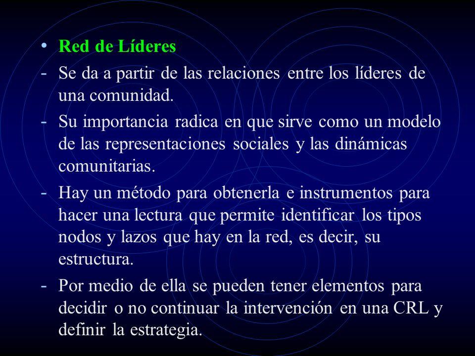 Red de Líderes - Se da a partir de las relaciones entre los líderes de una comunidad. - Su importancia radica en que sirve como un modelo de las repre