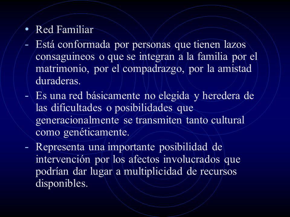 Red Familiar - Está conformada por personas que tienen lazos consaguineos o que se integran a la familia por el matrimonio, por el compadrazgo, por la