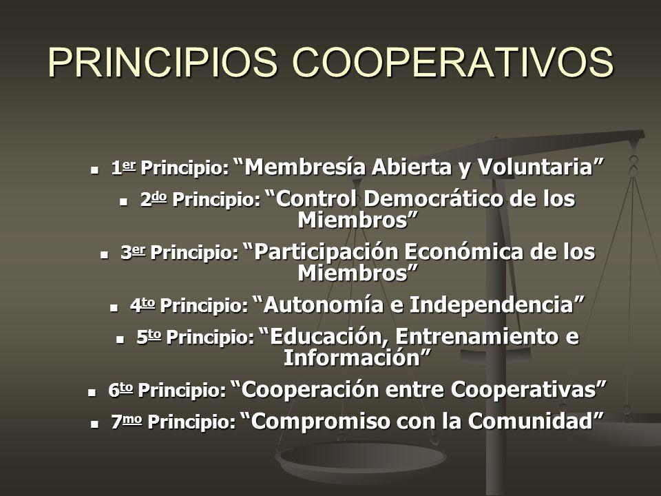 PRINCIPIOS COOPERATIVOS 1 er Principio: Membresía Abierta y Voluntaria 1 er Principio: Membresía Abierta y Voluntaria 2 do Principio: Control Democrát