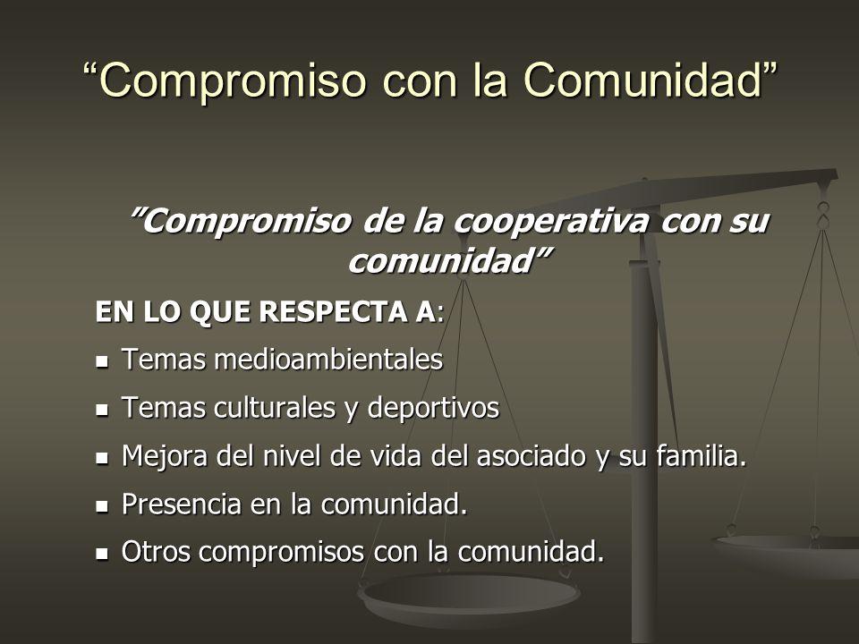 Compromiso con la Comunidad Compromiso de la cooperativa con su comunidad EN LO QUE RESPECTA A: Temas medioambientales Temas medioambientales Temas cu