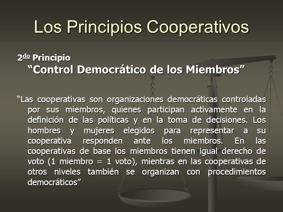 Control Democrático de los Miembros ESTE PRINCIPIO CONTEMPLA Participación en Asambleas Accesibilidad a cargos sociales Equilibrio real de poder entre los asociados Democracia en el trabajo (clima laboral)Democracia en el trabajo (clima laboral)