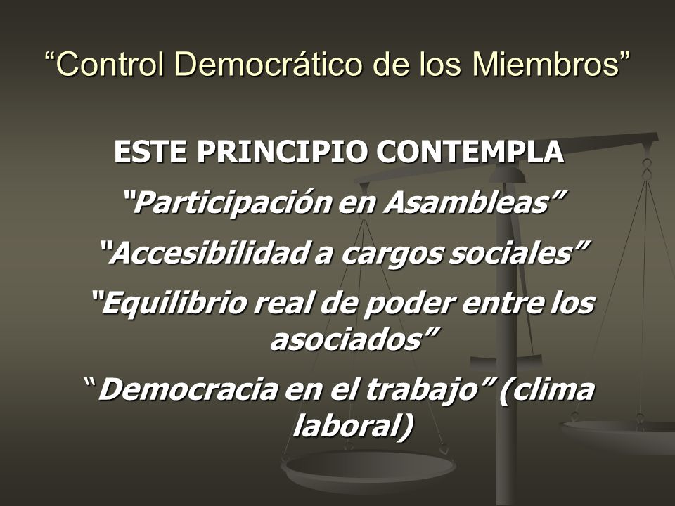 Control Democrático de los Miembros ESTE PRINCIPIO CONTEMPLA Participación en Asambleas Accesibilidad a cargos sociales Equilibrio real de poder entre
