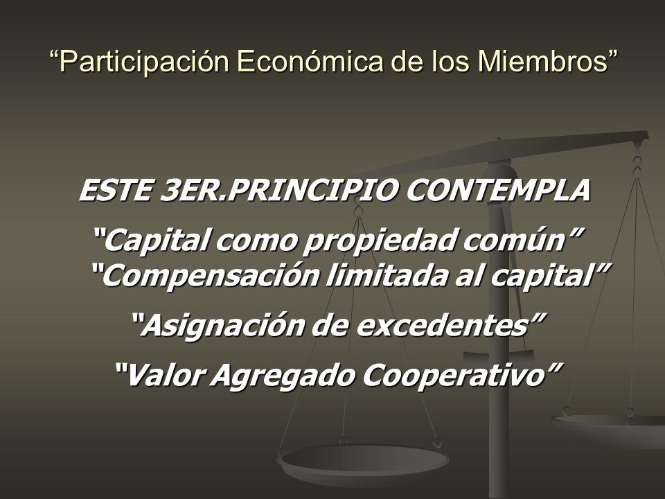 Participación Económica de los Miembros ESTE 3ER.PRINCIPIO CONTEMPLA Capital como propiedad común Compensación limitada al capital Asignación de exced