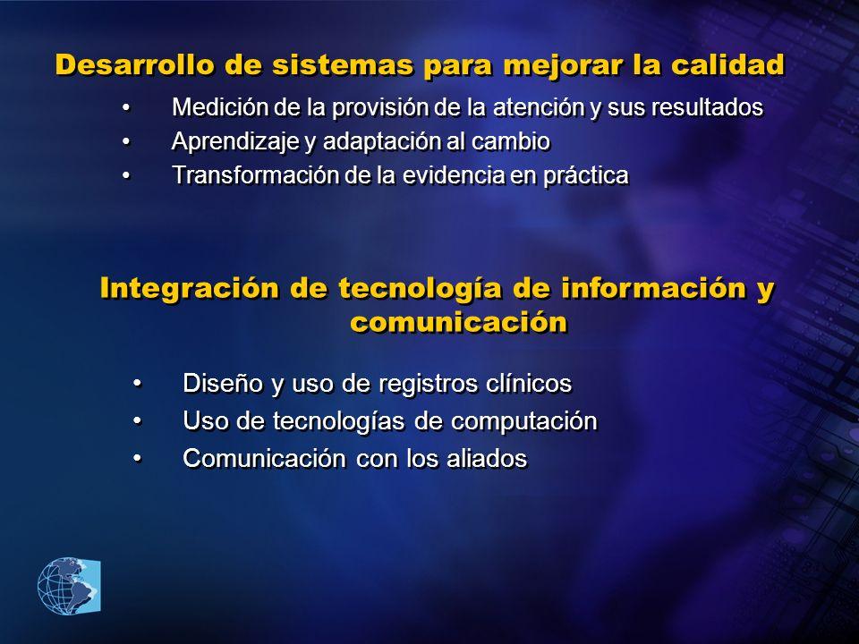 Desarrollo de sistemas para mejorar la calidad Medición de la provisión de la atención y sus resultados Aprendizaje y adaptación al cambio Transformac