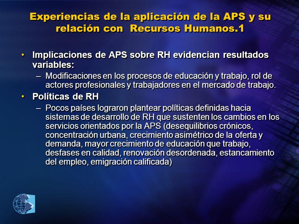 Experiencias de la aplicación de la APS y su relación con Recursos Humanos.1 Implicaciones de APS sobre RH evidencian resultados variables: –Modificac
