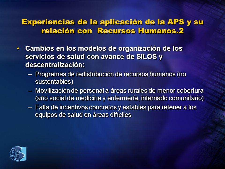 Experiencias de la aplicación de la APS y su relación con Recursos Humanos.2 Cambios en los modelos de organización de los servicios de salud con avan