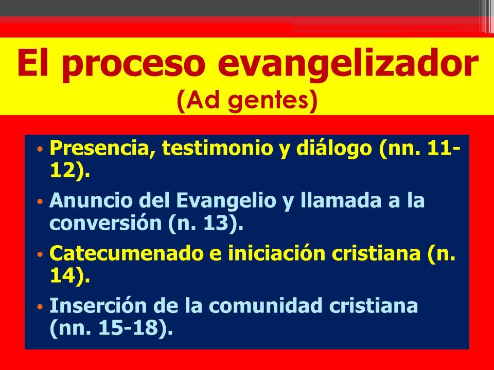 El proceso evangelizador (Ad gentes) Presencia, testimonio y diálogo (nn. 11- 12). Anuncio del Evangelio y llamada a la conversión (n. 13). Catecumena