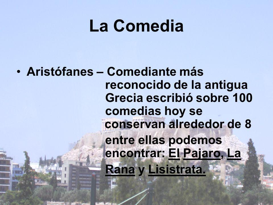 La Comedia Aristófanes – Comediante más reconocido de la antigua Grecia escribió sobre 100 comedias hoy se conservan alrededor de 8 entre ellas podemo