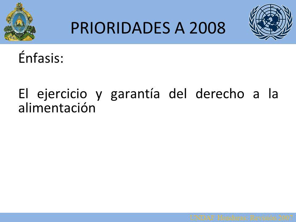UNDAF Honduras: Revisión 2007 PRIORIDADES A 2008 Áreas prioritarias: Fortalecimiento de los mecanismos de coordinación interinstitucional para la aplicación de la Política de Seguridad Alimentaria y Nutricional – Fortalecer la descentralización y la representatividad Desarrollo de capacidades institucionales centrales y locales para implementar y operativizar la política de seguridad alimentaria y nutricional.